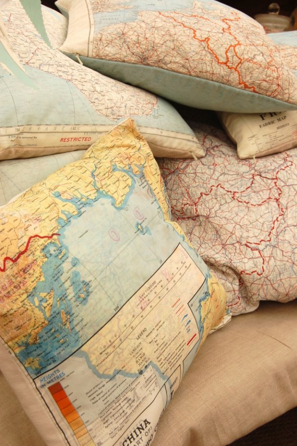 Silk 'escape & evasion' map cushions