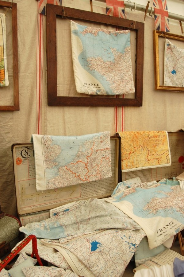 Silk 'Escape & Evasion' map cushion covers~Home Front Vintage