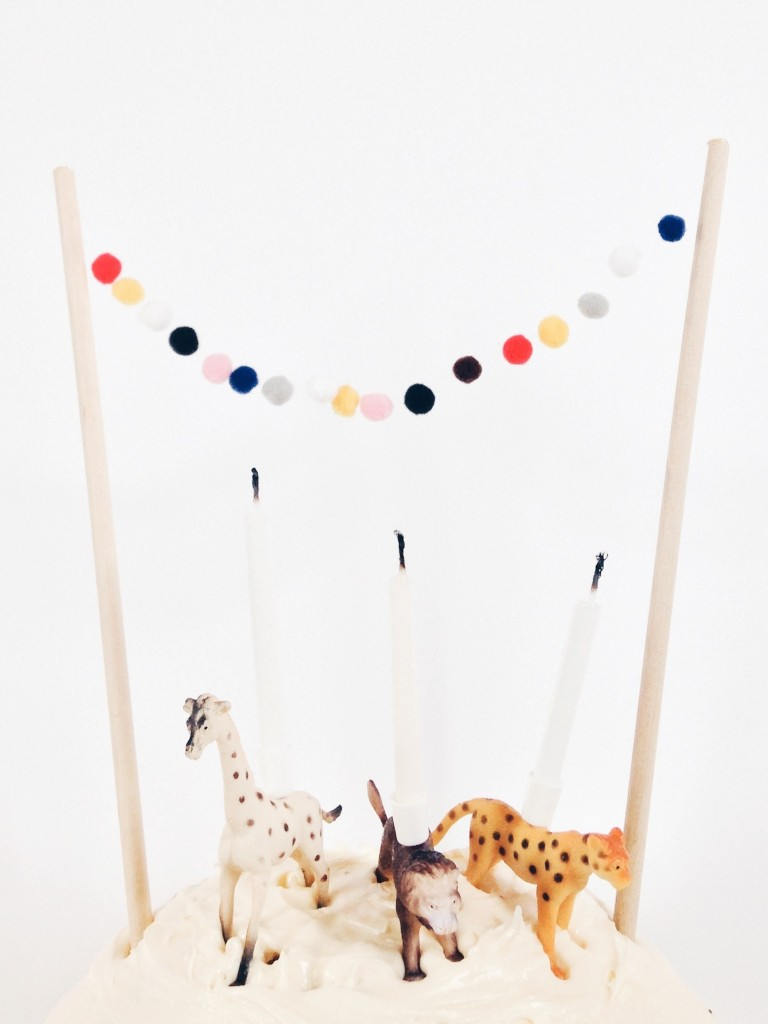 DIY animal candles - animal kids party theme candle celebration mini pompom bunting cake toppers