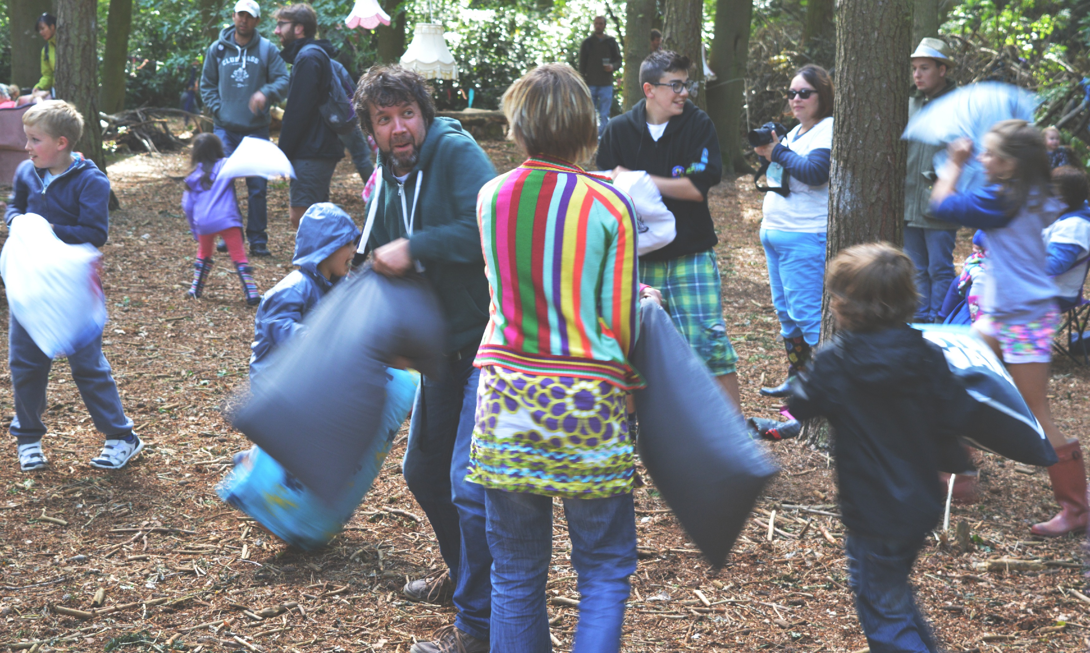 pillow fight in the woods