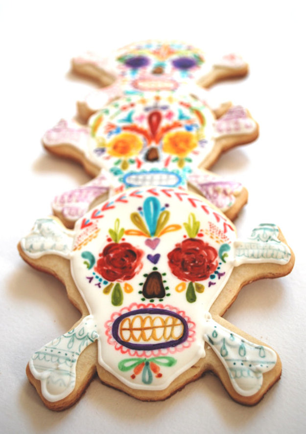 sugar skull day of the dead biscuits