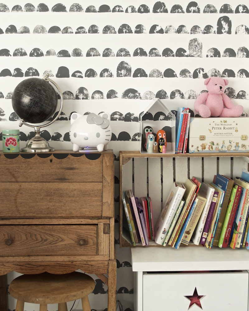 DIY potato print wall and monochrome scandi style kids room