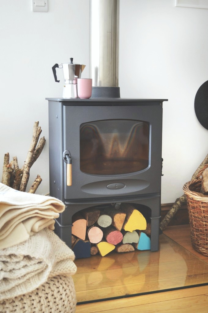 charnwood logburner november fireside DIY painted logs