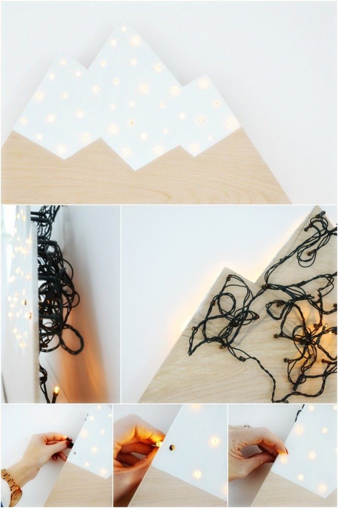 DIY plywood mountain marquee