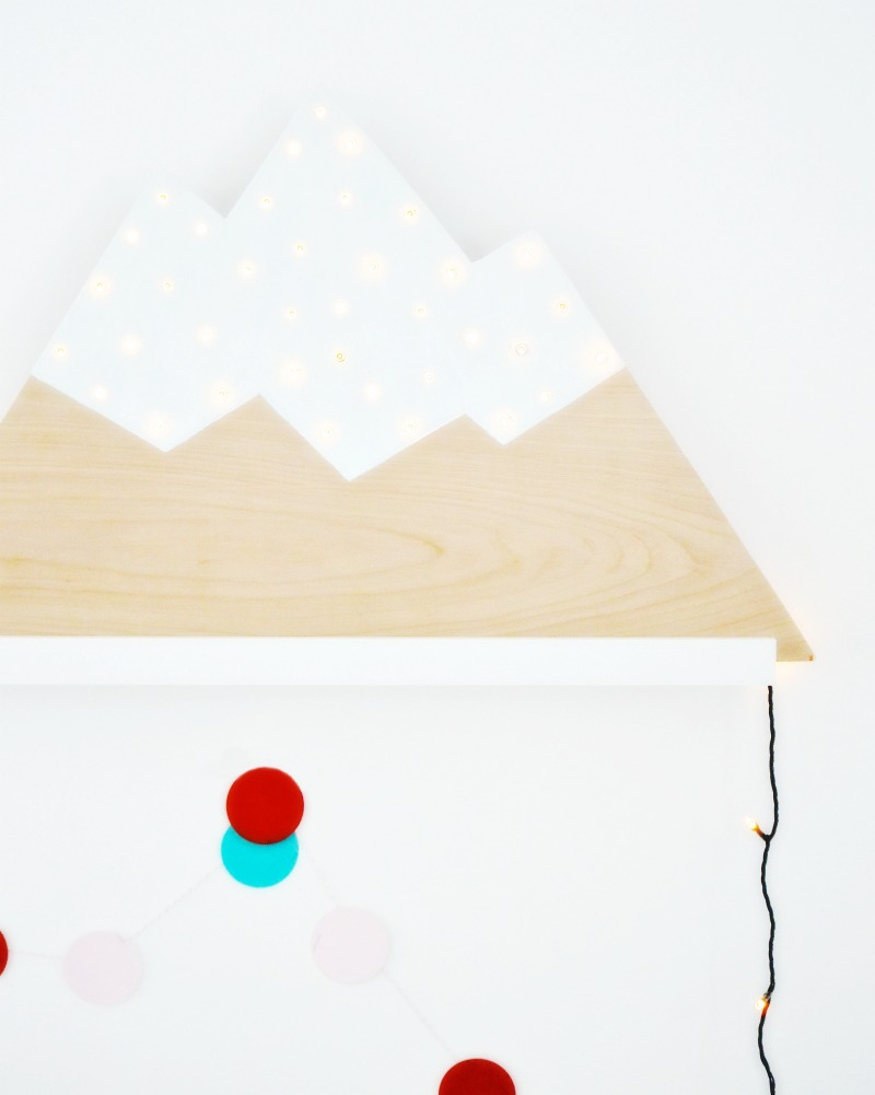 DIY twinkle plywood mountain marquee