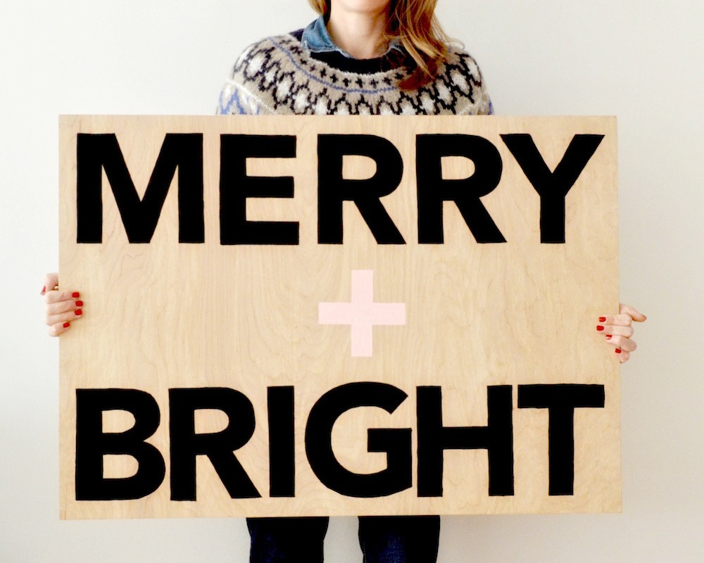 merry bright plywood wall art