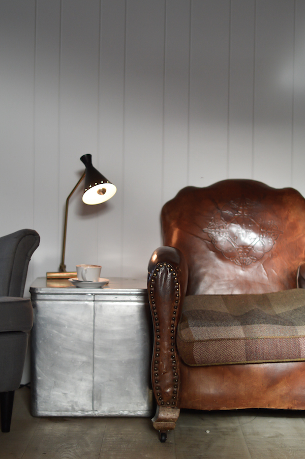 The perfect place to relax! A worn leather armchair, and a hot chocolate...