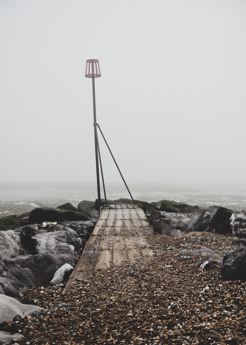 January Misty Moody Beach scene
