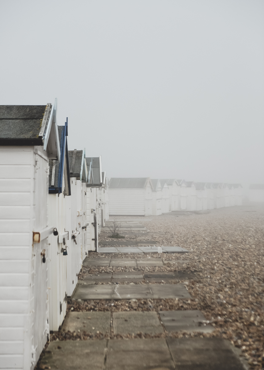 January Misty Moody Beach Huts scene